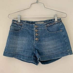 Free People Denim Braided Button Fly Short
